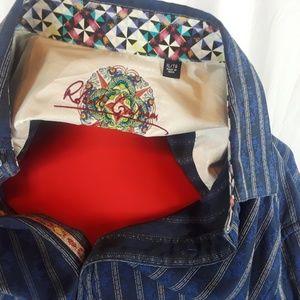 Robert Graham Shirt XL Blue/Stripes & Designs L/S